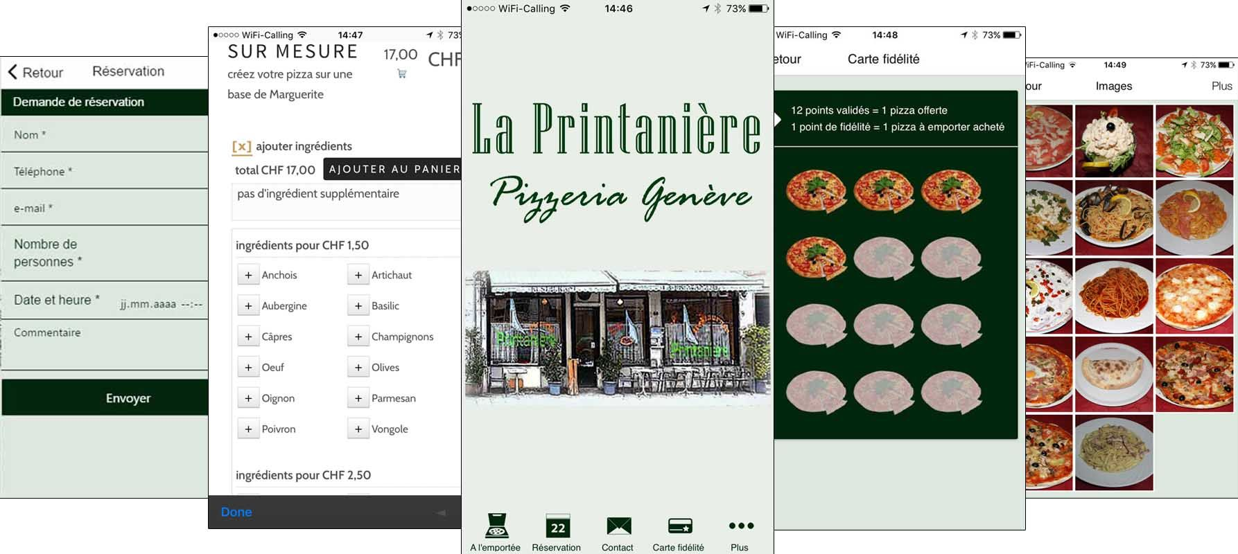 Application pour restaurant pizzeria